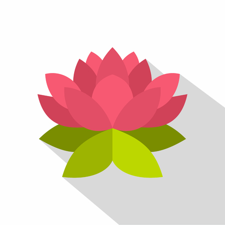 Lotus flower icon. Flat illustration of lotus flower vector icon for web design