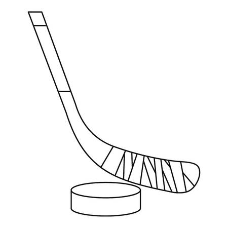 puck: Stick and puck icon. Outline illustration of stick and puck vector icon for web