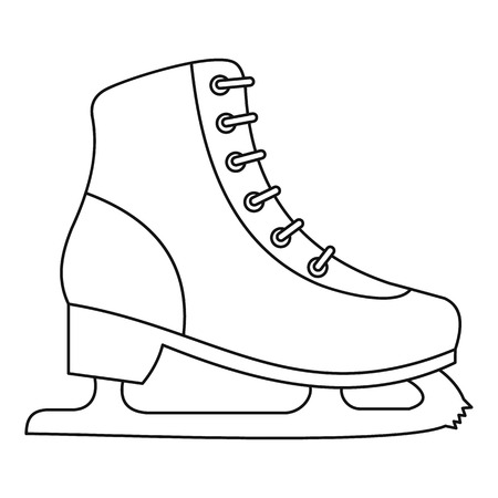skating on thin ice: Ice skate icon. Outline illustration of ice skate vector icon for web