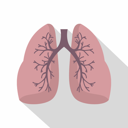pulmonology: Lungs icon. Flat illustration of lungs vector icon for web Illustration
