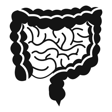 cecum: Intestines icon. Simple illustration of intestines vector icon for web