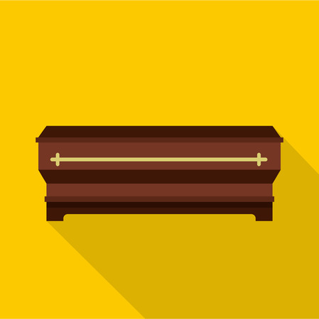 Coffin icon. Flat illustration of coffin vector icon for web