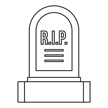 headstone: Headstone icon. Outline illustration of headstone vector icon for web