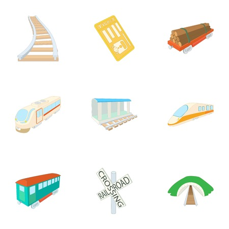 electric train: Electric train icons set. Cartoon illustration of 9 electric train vector icons for web