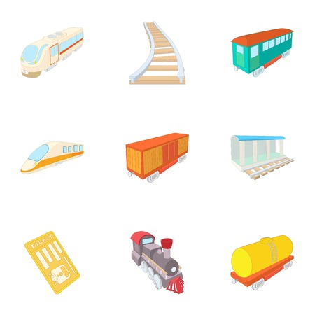 Train ride icons set. Cartoon illustration of 9 train ride vector icons for web