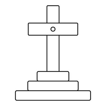 die line: Grave icon. Outline illustration of grave vector icon for web