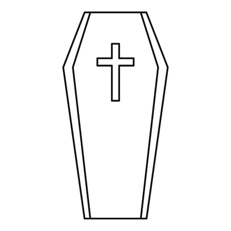 under ground: Coffin icon. Outline illustration of coffin vector icon for web