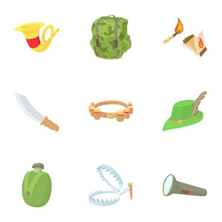Hunting of animals icons set. Cartoon illustration of 9 hunting of animals vector icons for web Illustration