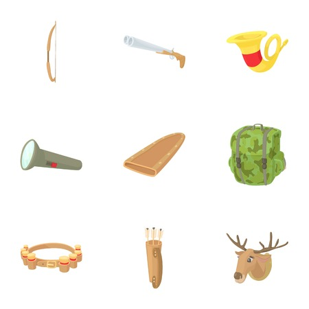 sheath: Hunting in forest icons set. Cartoon illustration of 9 hunting in forest vector icons for web