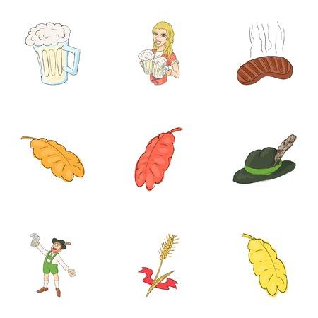 irish woman: Beer icons set. Cartoon illustration of 9 beer vector icons for web Illustration