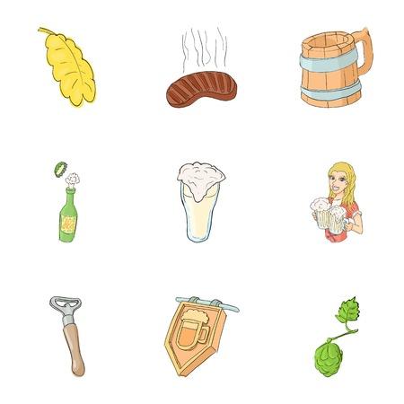 Alcoholic beverage icons set. Cartoon illustration of 9 alcoholic beverage vector icons for web