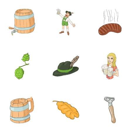 irish woman: Beer festival icons set. Cartoon illustration of 9 beer festival vector icons for web