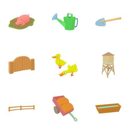 Barnyard icons set. Cartoon illustration of 9 barnyard vector icons for web