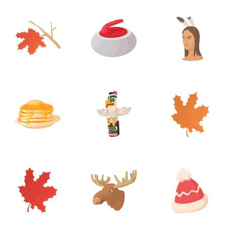 Tourism in Canada icons set. Cartoon illustration of 9 tourism in Canada vector icons for web