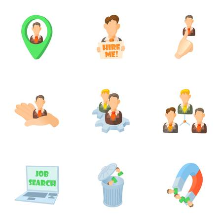 staffing: Staffing agency icons set. Cartoon illustration of 9 staffing agency vector icons for web