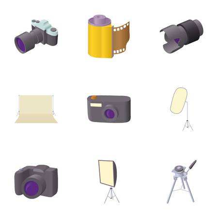 photography icons: Photography icons set. Cartoon illustration of 9 photography vector icons for web Illustration