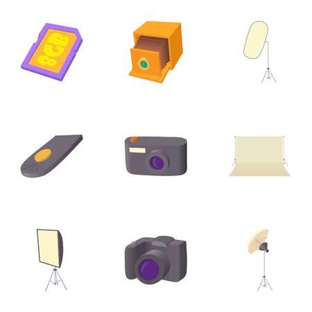 Taking photo icons set. Cartoon illustration of 9 taking photo vector icons for web