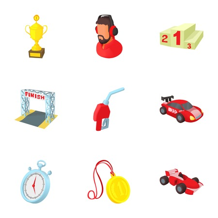 Race cars icons set. Cartoon illustration of 9 race cars vector icons for web
