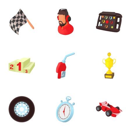 Machine race icons set. Cartoon illustration of 9 machine race vector icons for web Illustration