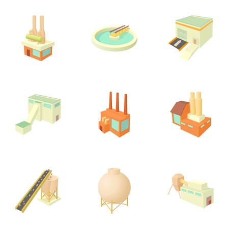 Factory icons set. Cartoon illustration of 9 factory vector icons for web