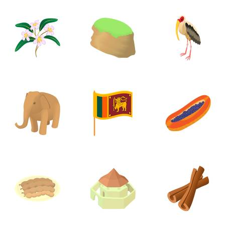 Sri Lanka icons set. Cartoon illustration of 9 Sri Lanka vector icons for web Illustration