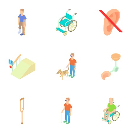 special needs: People with special needs opportunities icons set. Cartoon illustration of 9 people with special needs opportunities vector icons for web