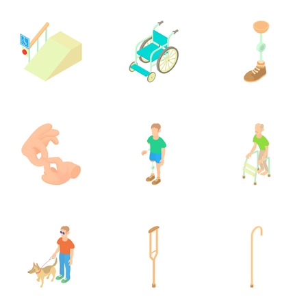 Disabled people icons set. Cartoon illustration of 9 disabled people vector icons for web Illustration