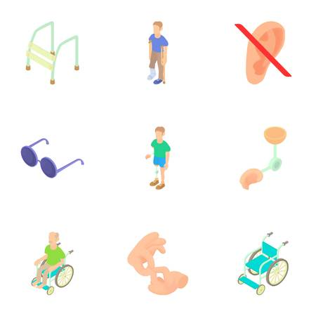 invalid: Cripple icons set. Cartoon illustration of 9 cripple vector icons for web