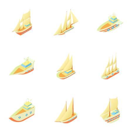 3d boat: Ships icons set. Cartoon illustration of 9 ships vector icons for web Illustration