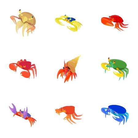 Crab icons set. Cartoon illustration of 9 crab vector icons for web
