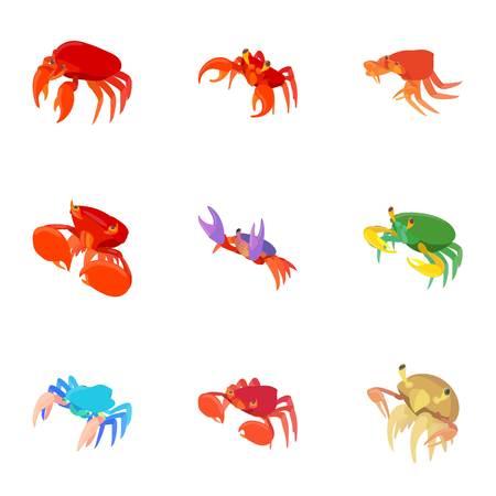 Crayfish icons set. Cartoon illustration of 9 crayfish vector icons for web Illustration
