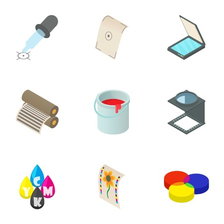 paint container: Printout icons set. Cartoon illustration of 9 printout vector icons for web