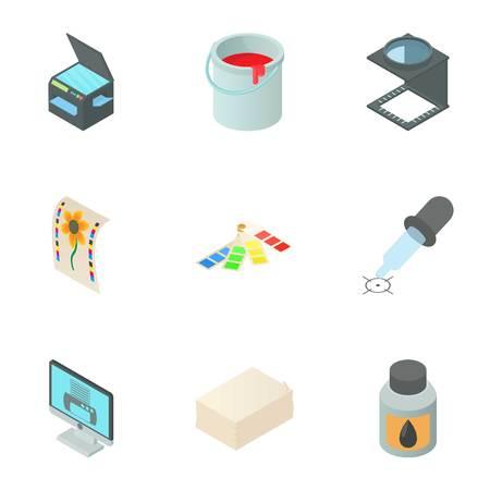 Printing services icons set. Cartoon illustration of 9 printing services vector icons for web
