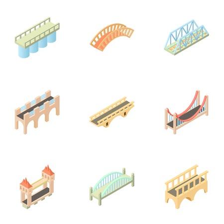 drawbridge: Bridge icons set. Cartoon illustration of 9 bridge vector icons for web Illustration