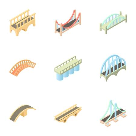 drawbridge: Types of bridges icons set. Cartoon illustration of 9 types of bridges vector icons for web