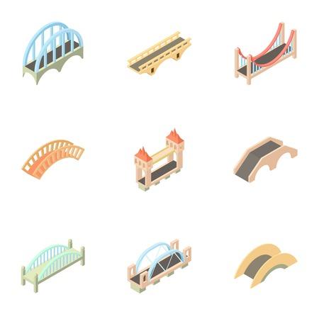 drawbridge: Bridge transition icons set. Cartoon illustration of 9 bridge transition vector icons for web Illustration