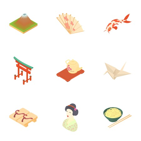 japan icons set. Cartoon illustration of 9 japan vector icons for web Illustration