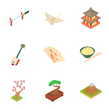 Holiday in japan icons set. Cartoon illustration of 9 holiday in japan vector icons for web