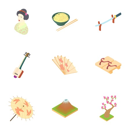 Attractions of japan icons set. Cartoon illustration of 9 attractions of japan vector icons for web
