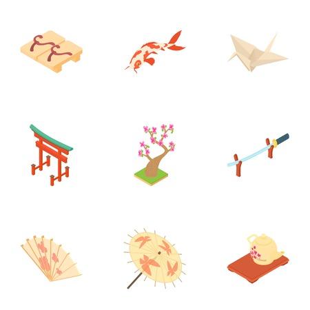 Tourism in japan icons set. Cartoon illustration of 9 tourism in japan vector icons for web Illustration