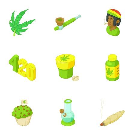jamaican man: Drug icons set. Cartoon illustration of 9 drug vector icons for web Illustration