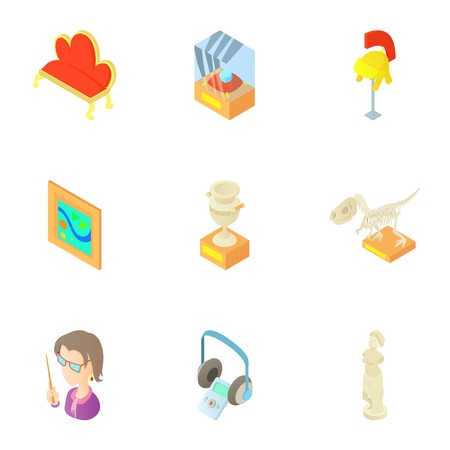 Museum icons set. Cartoon illustration of 9 museum vector icons for web