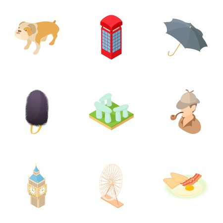 Country England icons set. Cartoon illustration of 9 country England vector icons for web Illustration