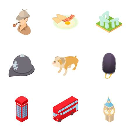 Tourism in England icons set. Cartoon illustration of 9 tourism in England vector icons for web Illustration