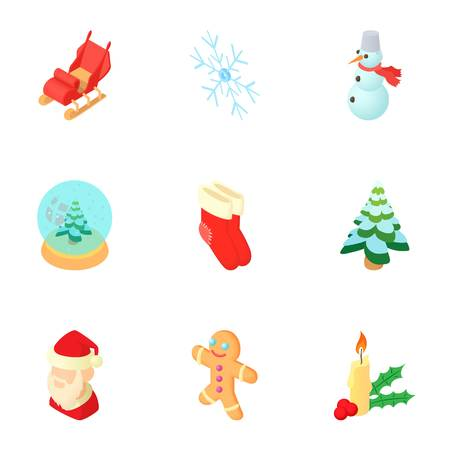 Winter holiday icons set. Cartoon illustration of 9 winter holiday vector icons for web