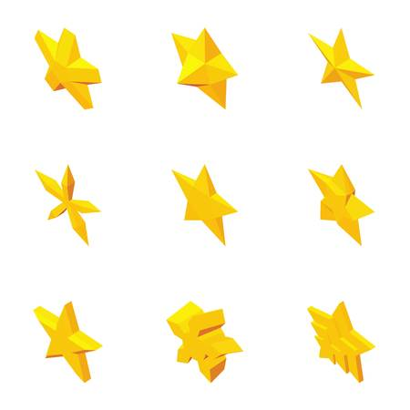 five pointed: Types of stars icons set. Cartoon illustration of 9 types of stars vector icons for web Illustration