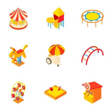 rainbow slide: Children games icons set. Cartoon illustration of 9 children games vector icons for web