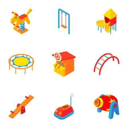 rainbow slide: Children entertainment icons set. Cartoon illustration of 9 children entertainment vector icons for web