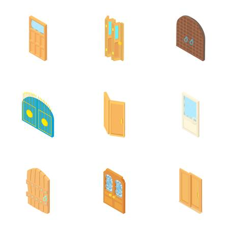 double entry: Door icons set. Cartoon illustration of 9 door vector icons for web