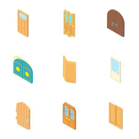 Door icons set. Cartoon illustration of 9 door vector icons for web